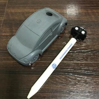 フォルクスワーゲン(Volkswagen)のNew Beetle ペン立て チョロQ付きボールペンセット(ミニカー)