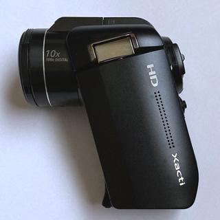 サンヨー(SANYO)のSANYO Xacti DMX-HD1000 黒 中古 バッテリー全3個付き(ビデオカメラ)