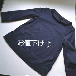 エイチアンドエム(H&M)のH &M     ボートネック  ブラウス  黒(Tシャツ(長袖/七分))