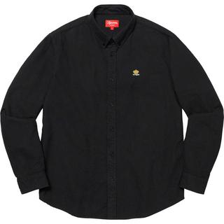 Supreme - 19fw 美品 黒 L supreme oxford flannel shirt