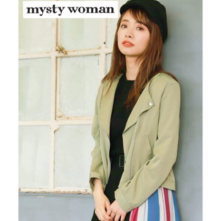 ミスティウーマン(mysty woman)のツイルノーカラーライダースジャケット カーキ ★mysty woman★ SML(ライダースジャケット)