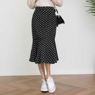 dholic - ドットパターンマーメイドスカート ドットスカート ブラック M 未使用新品美品