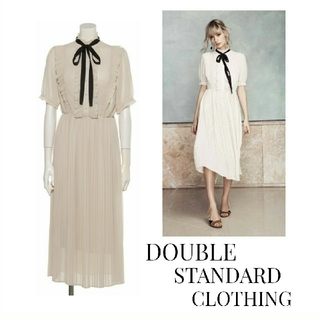 DOUBLE STANDARD CLOTHING - DOUBLE STANDARD CLOTHING プリーツシフォンワンピース