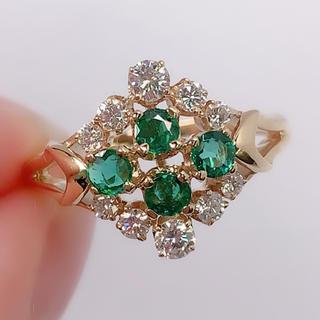 ミキモト(MIKIMOTO)のMIKIMOTO ミキモト K18YG エメラルド ダイヤモンド リング 御木本(リング(指輪))