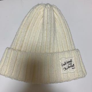 アズールバイマウジー(AZUL by moussy)のニット帽(ホワイト)AZUL by moussy(ニット帽/ビーニー)