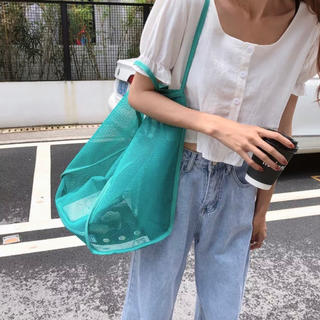 ヴァレンティノ(VALENTINO)のメッシュトートバッグ 鞄 肩がけ エコバッグ ターコイズ 内ポッケあり(エコバッグ)