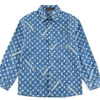 LOUIS VUITTON - LOUIS supreme シャツ blue