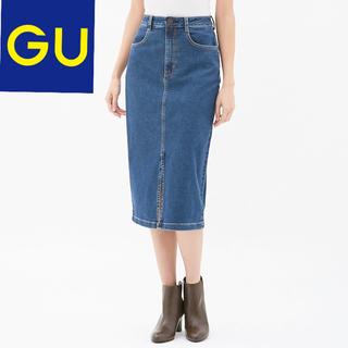 GU - ジーユー デニムフロントスリットミディスカート デニムスカート タイトスカート