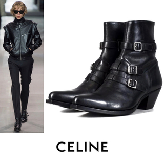 celine - CELINE セリーヌ ベルリン レザー ヒール ブーツ シューズ サンローラン