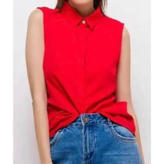 シップス(SHIPS)の新品未使用 ノースリーブブラウス 襟付きシャツ 赤シャツ(シャツ/ブラウス(半袖/袖なし))