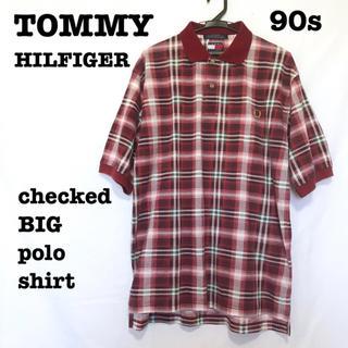 トミーヒルフィガー(TOMMY HILFIGER)の美品【 TOMMY HILFIGER 】ビッグシルエット チェック ポロシャツ(ポロシャツ)