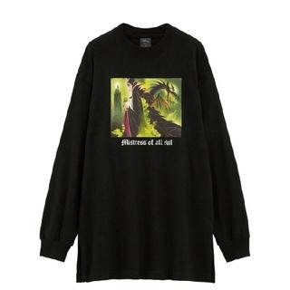 ジーユー(GU)のGUロングスリーブT(長袖)Disney1Y+Eマレフィセント黒ブラックSサイズ(Tシャツ(長袖/七分))