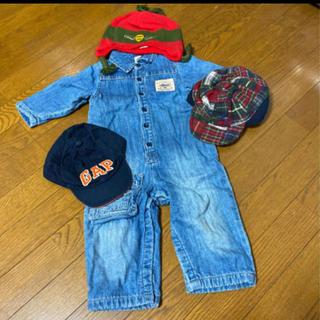 ギャップ(GAP)の☆4点セット☆GAP/ギャップ デニムカバーオール 80cm 帽子(カバーオール)
