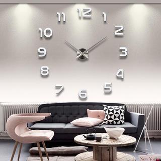 ✨Bigサイズ✨ 3Dウォールクロック DIY壁時計 ステッカー時計シルバー