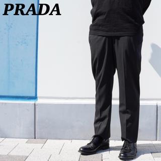 プラダ(PRADA)のプラダ スラックス ストライプ ブラック テーパード◎ 48R(スラックス)