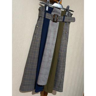 レディアゼル(REDYAZEL)のレディアゼル チェック 配色 ミモレ丈 スカート(ロングスカート)