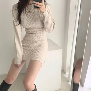 dholic - 当日発送可能❤韓国ファッションセクシーベージュニットワンピース