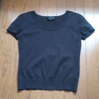 アンタイトル(UNTITLED)のUNTITLED 綺麗め 半袖 黒 ニット(ニット/セーター)