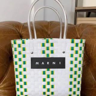 Marni - MARNI フラワーカフェ ピクニックバッグ ホワイト×グリーン