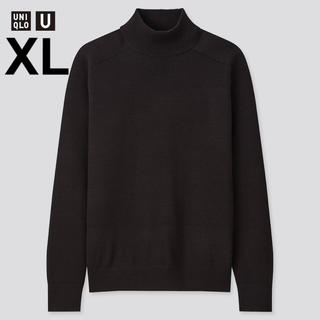 ユニクロ(UNIQLO)の【完売/新品】メリノブレンドモックネックセーター(長袖)XL Black 黒(ニット/セーター)