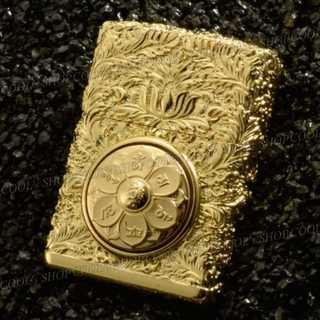 六字真言 フルメタルジャケット オイルライター 中央回転式 ゴールド 和柄 金(タバコグッズ)