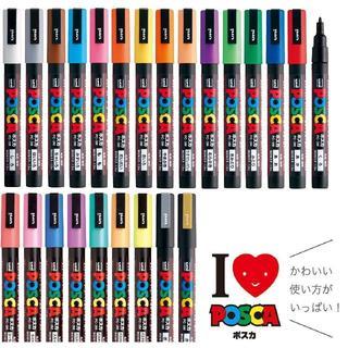 ミツビシエンピツ(三菱鉛筆)の三菱鉛筆 ポスカ 水性サインペン 細字丸芯 PC-3M 全24色セット(ペン/マーカー)