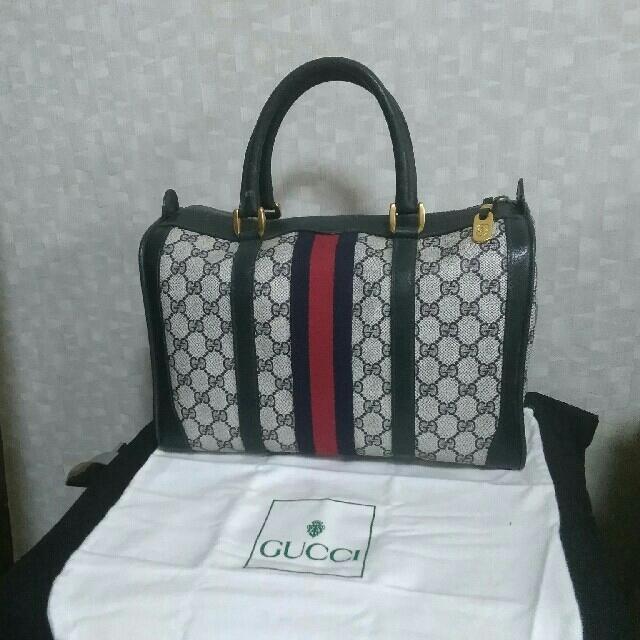 Gucci(グッチ)の☆正規品 オールド GUCCI シェリーライン ミニボストン ネイビー☆ レディースのバッグ(ボストンバッグ)の商品写真