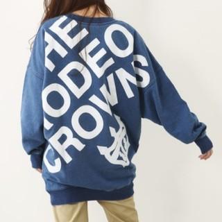 ロデオクラウンズ(RODEO CROWNS)のロデオクラウンズ デニムスウェット ドルマンビッグトレーナー 大きいサイズ(トレーナー/スウェット)