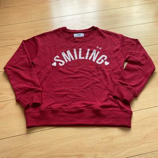イッカ(ikka)のikka 赤色ロゴトレーナー 140センチ(Tシャツ/カットソー)