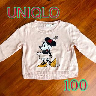 ユニクロ(UNIQLO)のUNIQLO キッズセーター 100 ピンク ミニーちゃん(ニット)