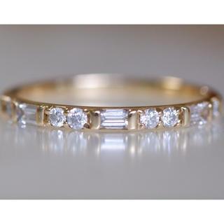 K18 ダイヤモンド 0.32ct バケット ラウンド リング 14号 バゲット(リング(指輪))