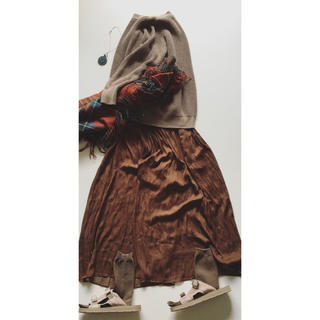 UNIQLO - スカート風 ワイドパンツ  ブラウン プチプラ コスパのいい服 大人の日常着