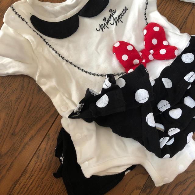 Disney(ディズニー)のミニーちゃんロンパース キッズ/ベビー/マタニティのベビー服(~85cm)(ロンパース)の商品写真