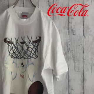 コカコーラ(コカ・コーラ)のコカコーラ 90s シロクマ バスケ Tシャツ 一点物 USA古着 レトロ(Tシャツ/カットソー(半袖/袖なし))