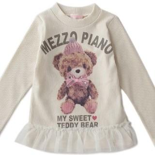 mezzo piano - メゾピアノ クマ転写プリントチュールつきリブニット 120