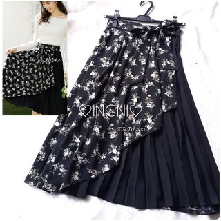 MISCH MASCH - 今期 新品未使用 イング 花柄プリーツ切替ラッフルミディスカート 綺麗なブラック