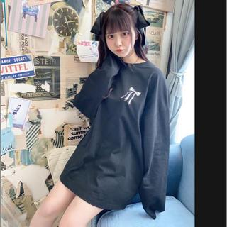 アンクルージュ(Ank Rouge)のpium いたずら天使の オーバーサイズ ロングTシャツ ブラック 新品未開封(Tシャツ(長袖/七分))