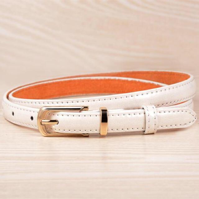 シンプル マルチカラー レザーベルト レディースのファッション小物(ベルト)の商品写真