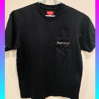 シュプリーム(Supreme)のsupreme mesh stripe pocket tee Sサイズ ブラック(Tシャツ/カットソー(半袖/袖なし))