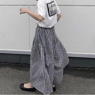 アクネ(ACNE)の★rin様専用★ oksoon ギンガムリネンワイドパンツ(カジュアルパンツ)