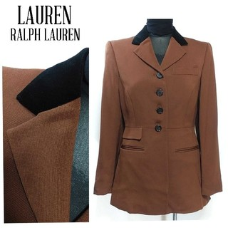 ラルフローレン(Ralph Lauren)のローレン ラルフローレン 異素材 ジャケット 茶色 黒 上品 2P レディース(テーラードジャケット)