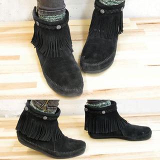 ミネトンカ(Minnetonka)のミネトンカ フリンジブーツ レザー スエード ショートブーツ ブラック 24.5(ブーツ)