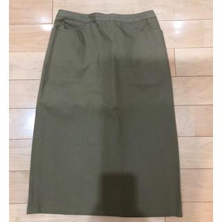 スピックアンドスパン(Spick and Span)の新品 spick and span  長めタイトスカート カーキ色 Lサイズ(ひざ丈スカート)