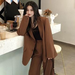 韓国ファッション 人気のセットアップ ブラウン ジャケット パンツ レディース