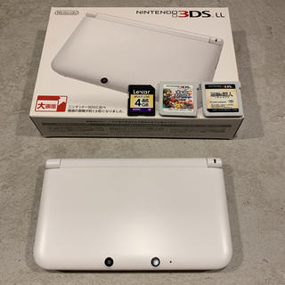 ニンテンドー3DS(ニンテンドー3DS)の3DSLL ホワイト 美品 ソフト付き 動作確認済(携帯用ゲーム機本体)