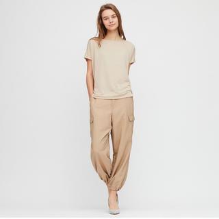 ユニクロ(UNIQLO)の【新品未使用】ドレープクルーネックT ナチュラル Sサイズ(Tシャツ(半袖/袖なし))