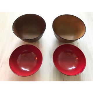 ムジルシリョウヒン(MUJI (無印良品))の☆無印良品 木製 茶色朱赤色 汁椀 小丼物 4個セット☆(食器)
