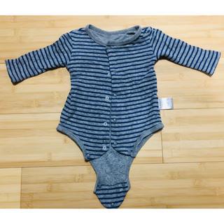 ベルメゾン(ベルメゾン)のベルメゾン 長袖ロンパース ボーダー 前開き 赤ちゃん 70cm(ロンパース)
