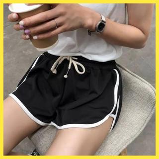 【期間限定】ショートパンツ ラインパンツ L 可愛い 韓国 黒 おしゃれ