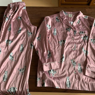 gelato pique - ジェラートピケ猫柄パジャマ上下セットピンク